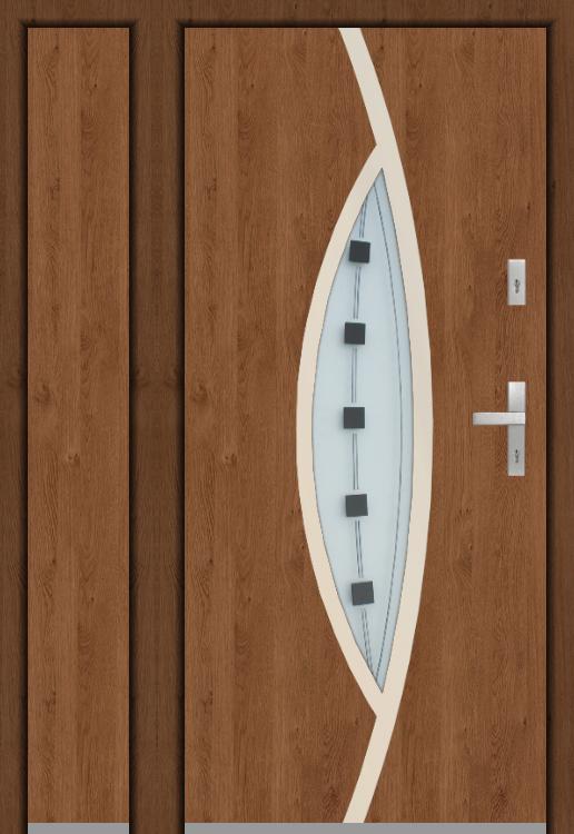 aangepaste configuratie - Puerta Fargo sin panel lateral izquierdo abierto (vista desde el exterior)