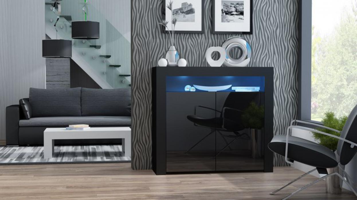 Milano dressoir 2D zwart - dressoir 100 cm breed